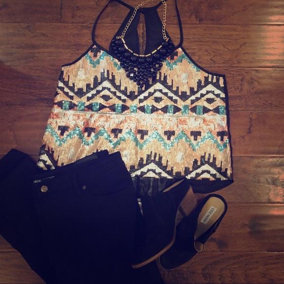 Charlotte Russe Tops - Aztec Sequin & Black Sheer Back Top -L